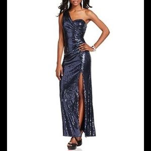 Xscape silver grey sequin gown